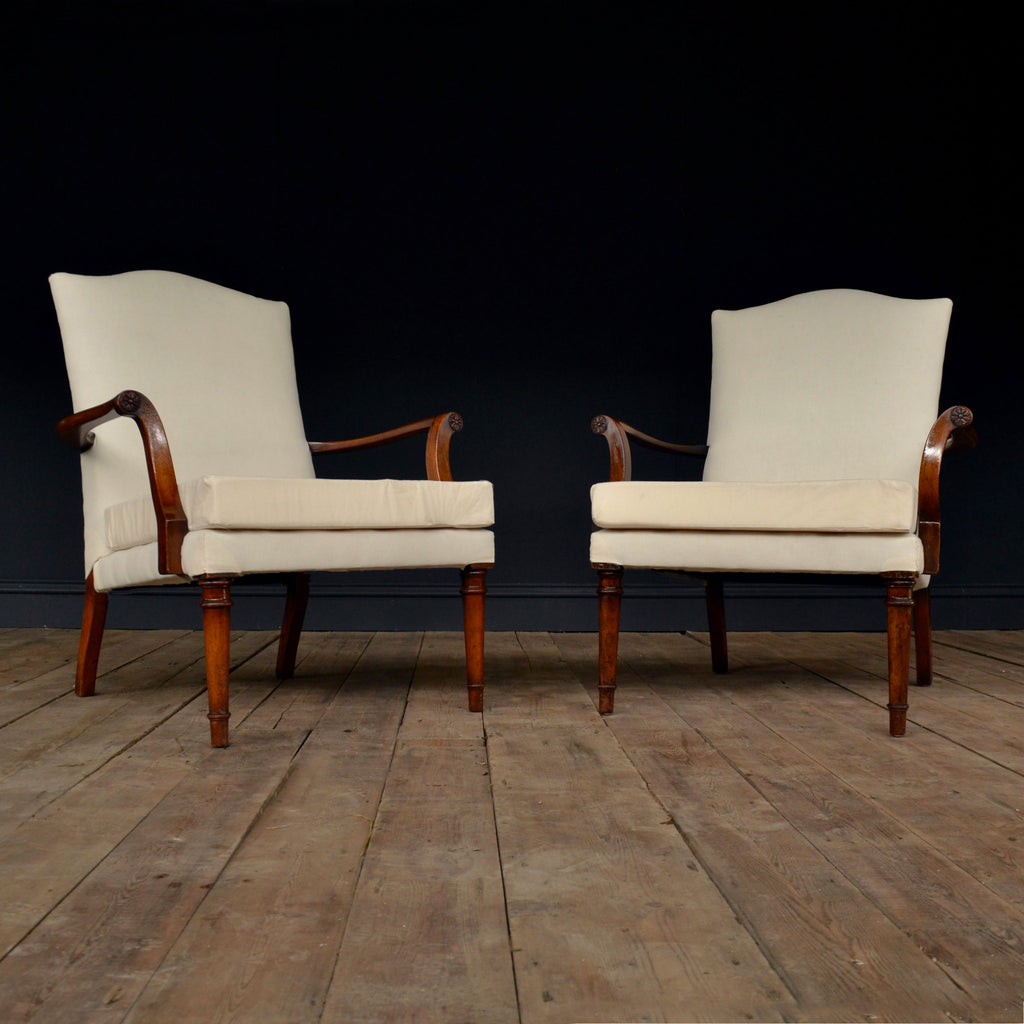 A Pair of Early 20th Century Mahogany Open Armchairs.  Upholstery Inclusive. 'SOLD'