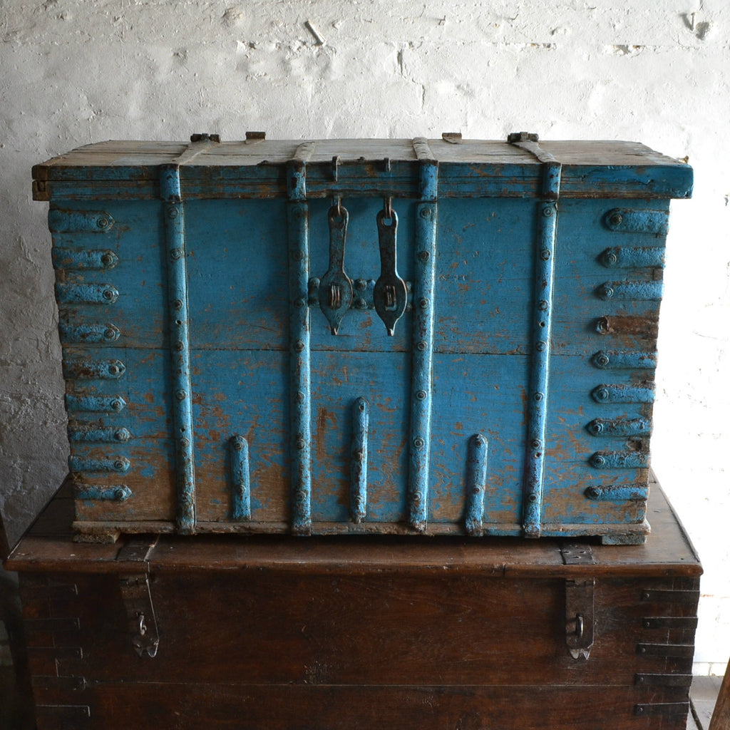 18th Century Iron Bound Blue painted chest 'SOLD'