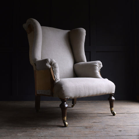 Exceptional 19th Century English Wing Armchair. Upholstery Inclusive
