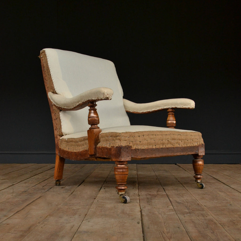 19th Century Walnut Library Armchair. Upholstery inclusive.