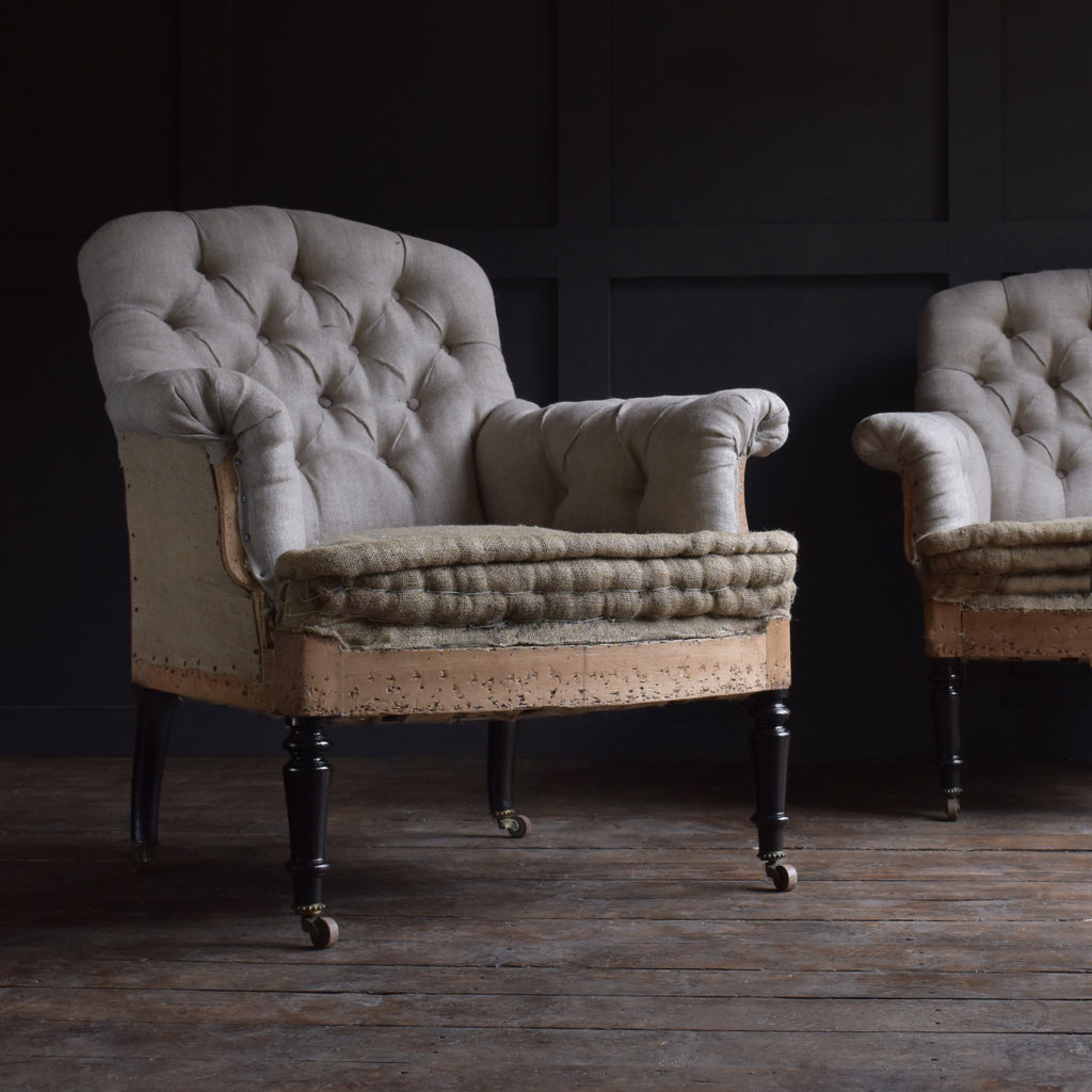 Excellent Pair of Ebonised Napoleon III Buttoned Armchairs. Upholstery Inclusive.