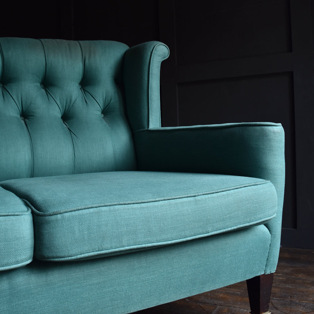 elegant edwardian wingback two seat sofa and armchair upholstery inclusive