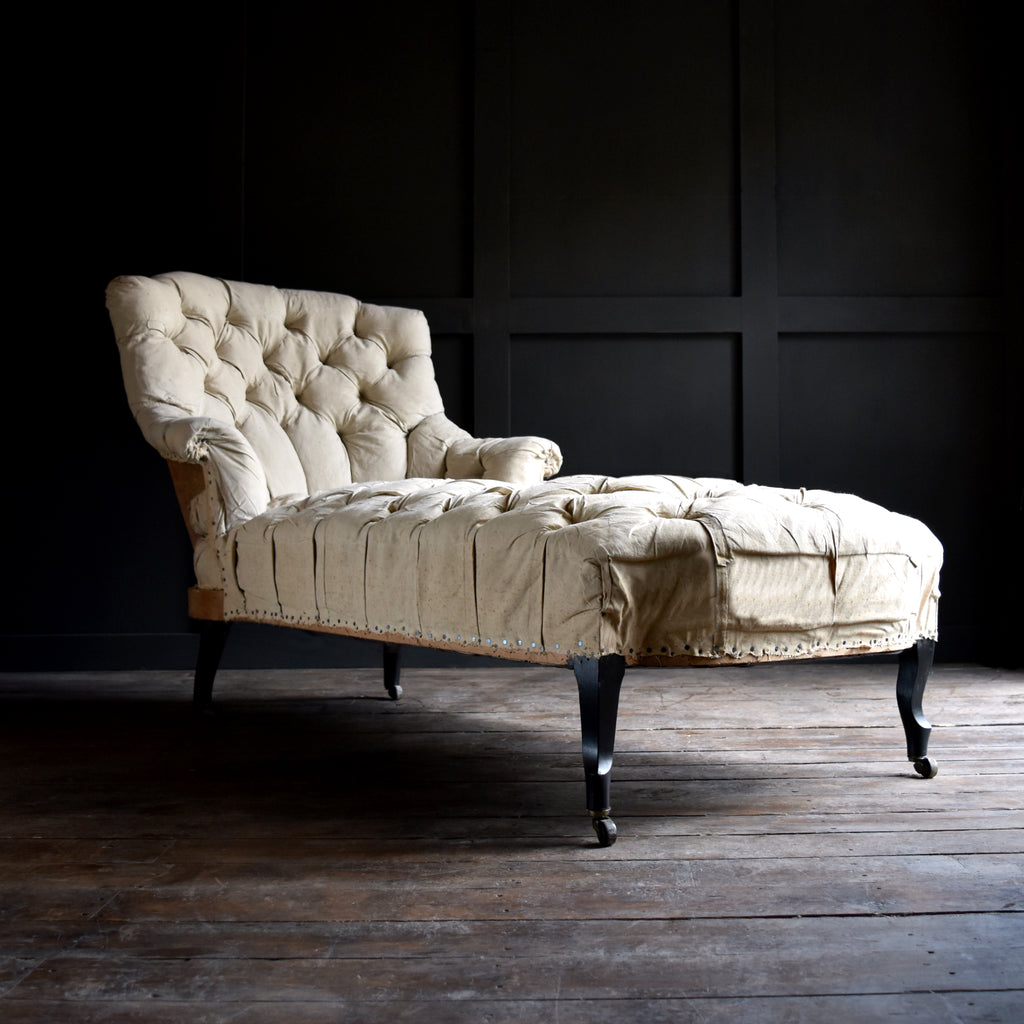 19th Century Ebonised French Buttoned Chaise Longue,  Upholstery Inclusive.