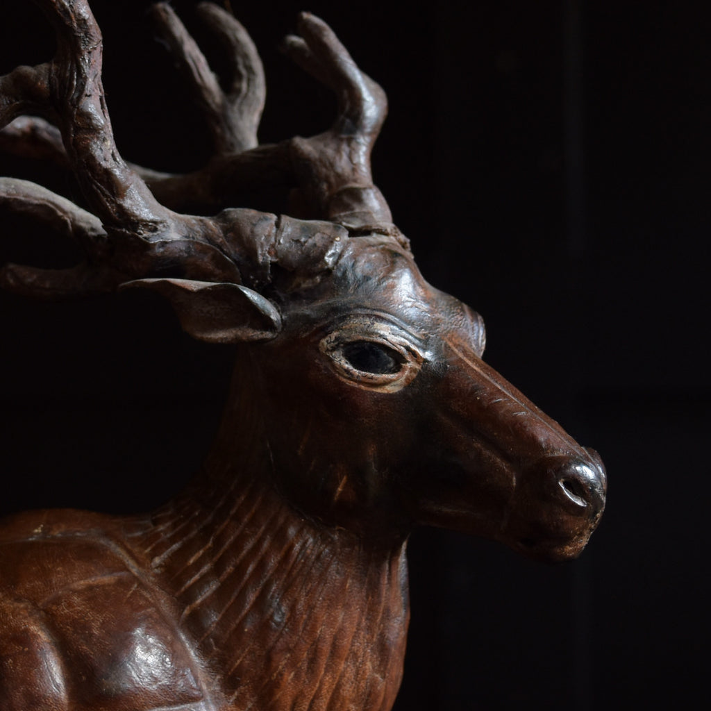 Early 20th Century Leather Covered Papier Mache Model of a Red Deer.