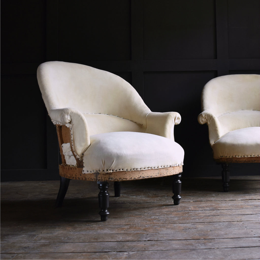 Pair of Attractive French 19th Century 'Crapaud' Armchairs. Upholstery inclusive.