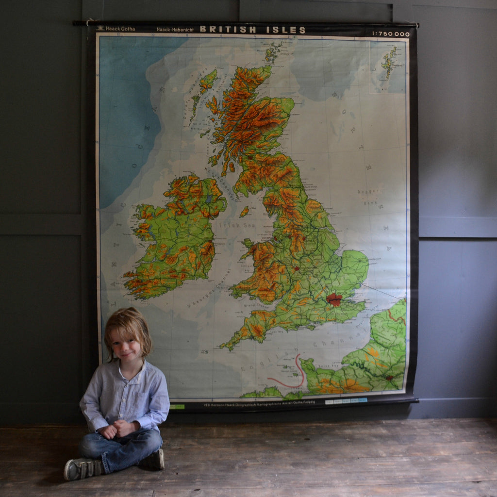 Large Mid 20th Century Pull Map of The British Isles.