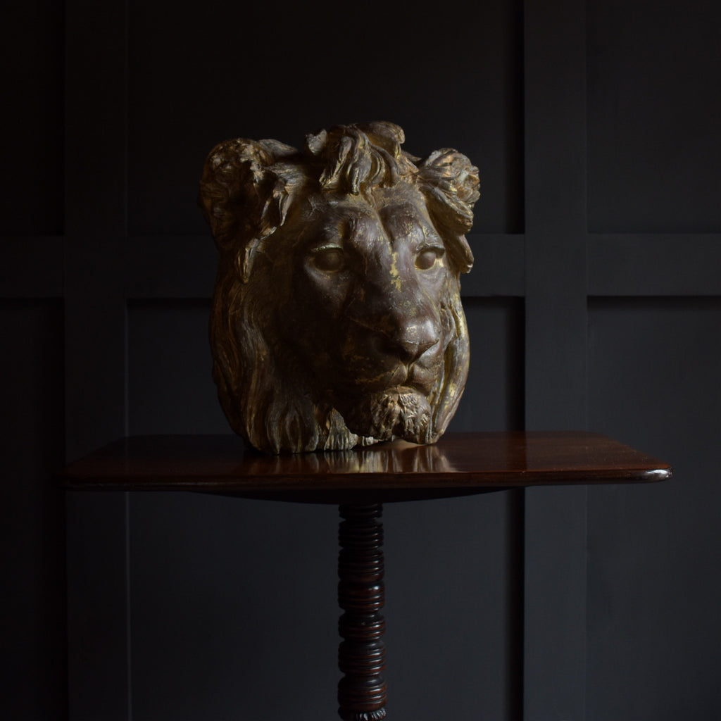 Superb 19th Century French Gilded Plaster Lion Mask.