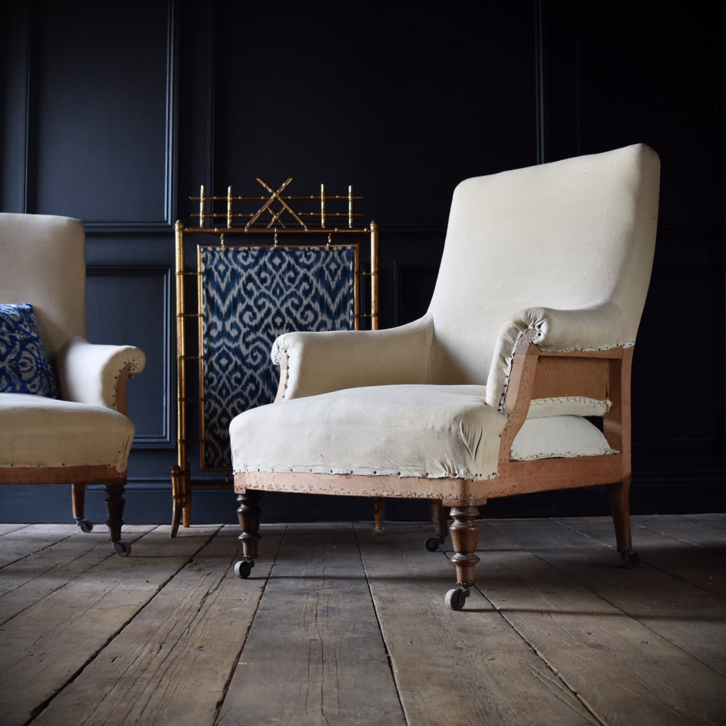 Pair of Good French Napoleon III High Back Armchairs. Circa 1880. Upholstery Inclusive