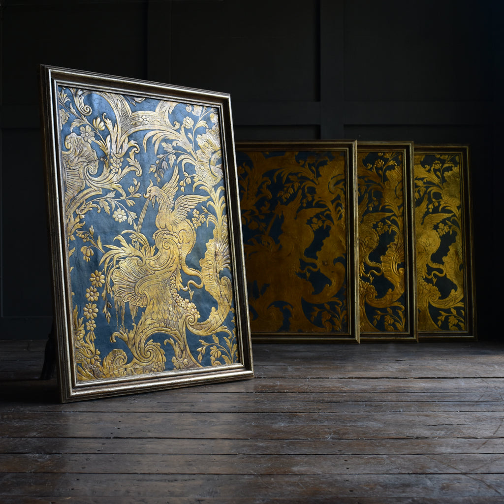 A set of Four 18th Century Spanish Embossed Leather Panels.