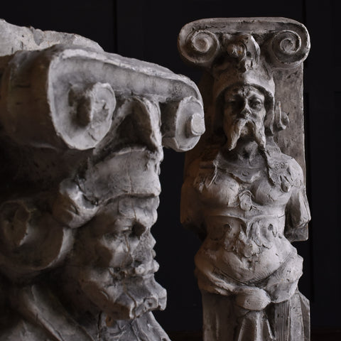 Pair of 19th Century Architectural Plaster Caryatid Figures.