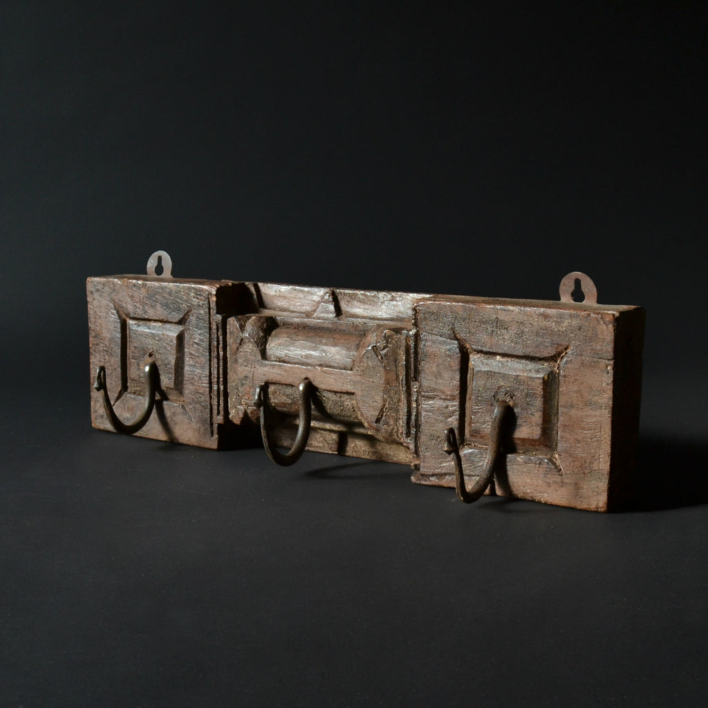 18th Century Hardwood Coat Rack Panel