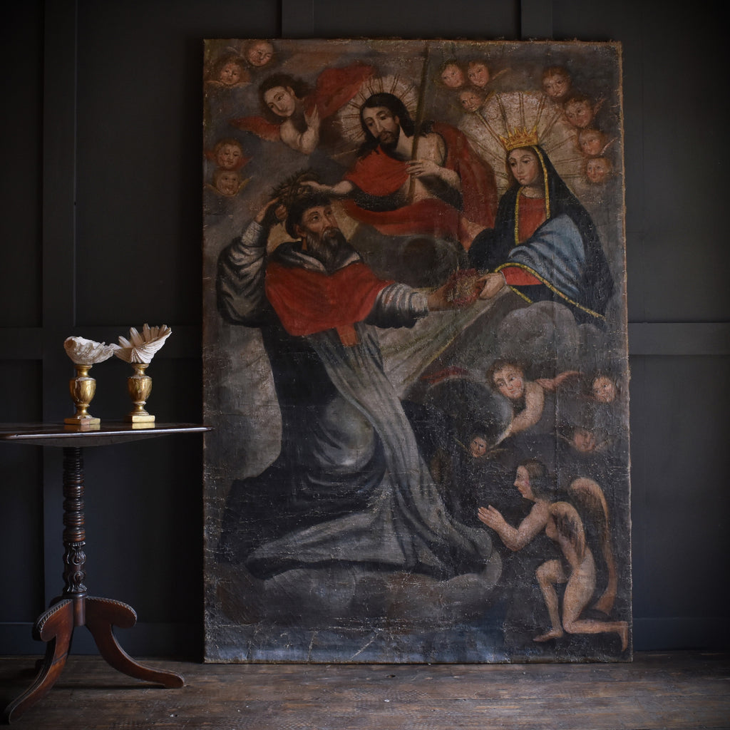 Huge 17th Century Continental Oil on Canvas. Religious Study