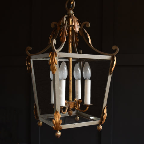 French Painted wrought Iron and Gilded  Hall Lantern.