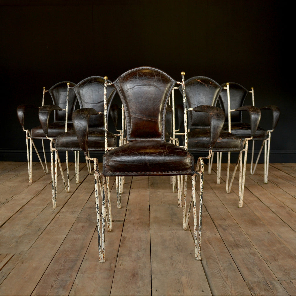 A Set of Six Excellent 1940's Italian Iron and Leather Stacking Arm Chairs