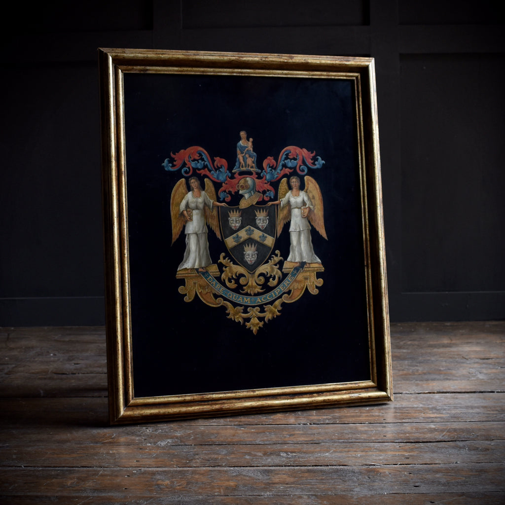 Exceptional Painted Coat of Arms of Sir Thomas Guy, Founder of the Guy's Hospital.