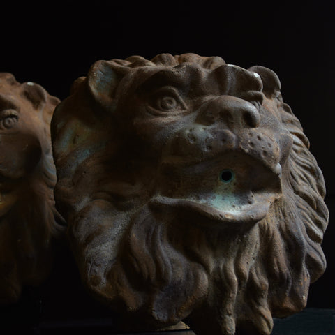 A Pair of Mounted Early 20th Century Decorative Lion Fountain Masks.
