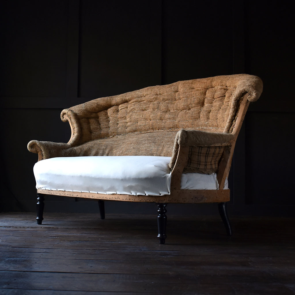 19th Century Napoleon III Two Seat Sofa. Upholstery Inclusive.