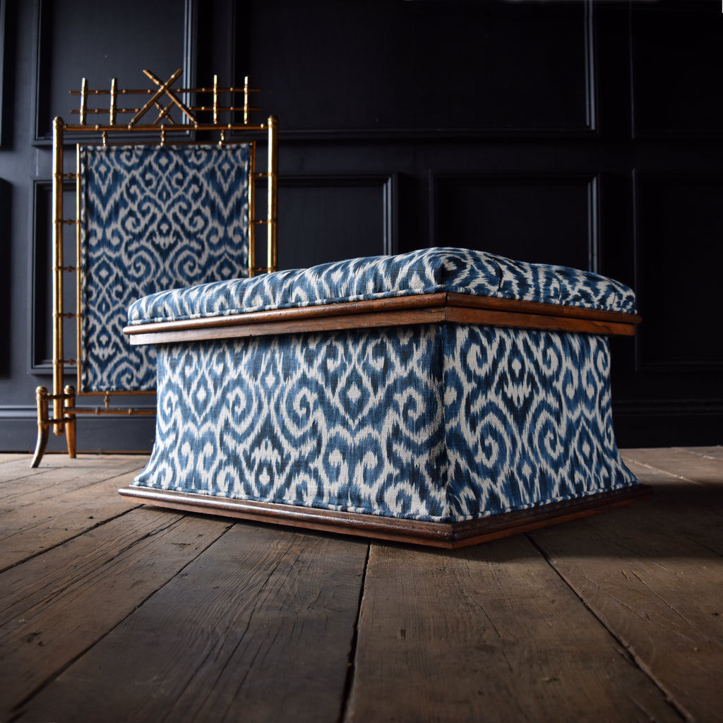 Exceptional 19th Century English Upholstered Rosewood Ottoman.