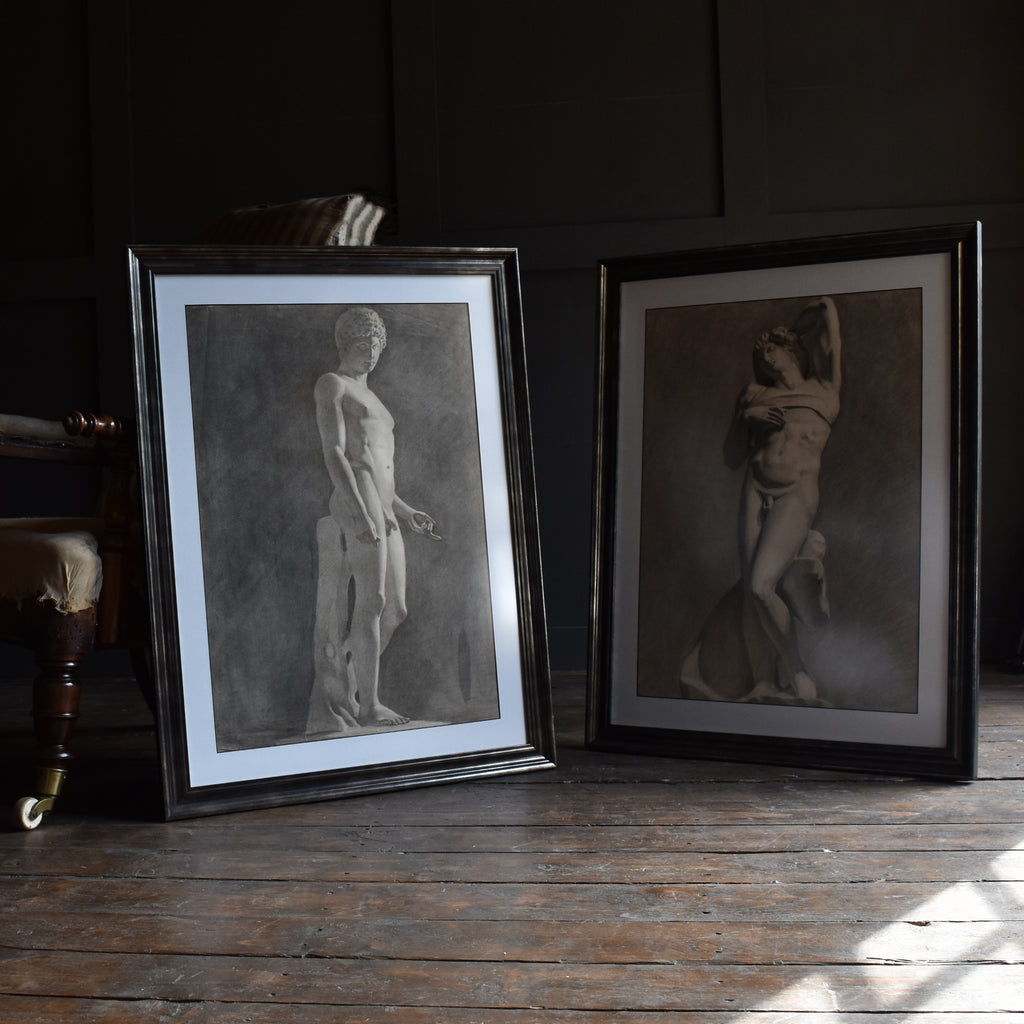 A Pair of Intriguing 19th Century Graphite Drawings Nude Studies.