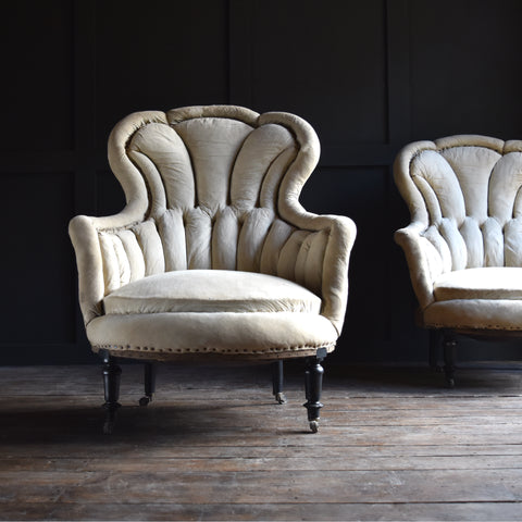 A Pair of Exceptional 19th century French Scalloped Back Armchairs, Upholstery inclusive.