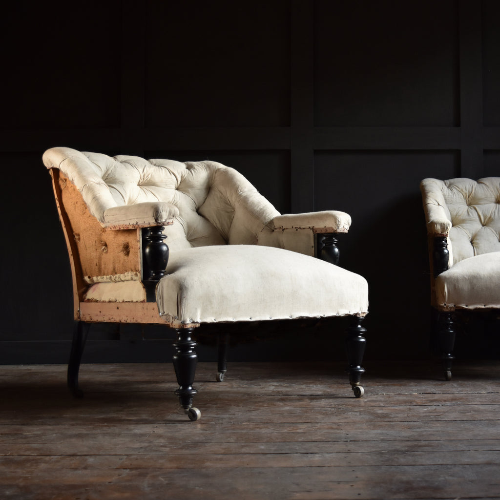 Superb Pair of French 19th Century ebonised Armchairs, Upholstery inclusive.
