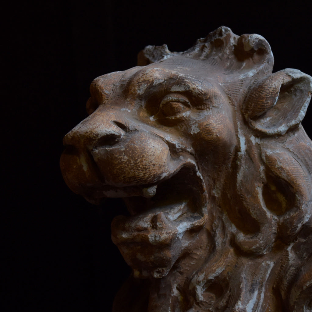 19th Century Plaster Statue of a Heraldic Lion.