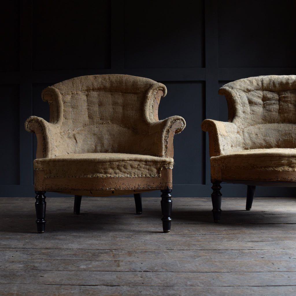 "Pair of 19th Century French ""Chapeau de Gendarme"" Armchairs. Upholstery Inclusive."