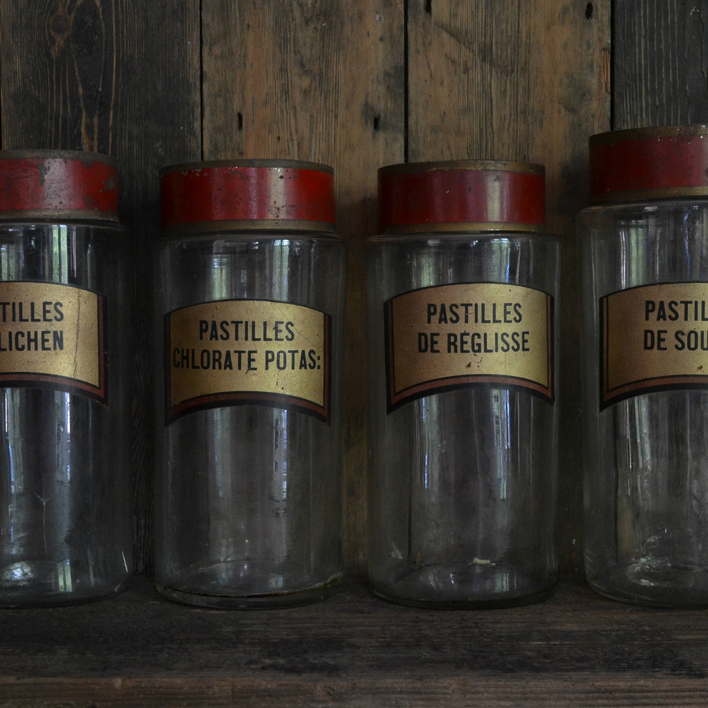 Four French Antique Apothecary Jars, Circa 1850