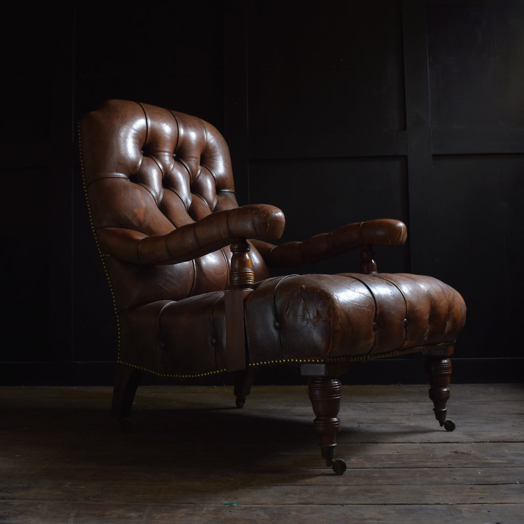 Handsome Early 20th Century Leather Library Armchair.