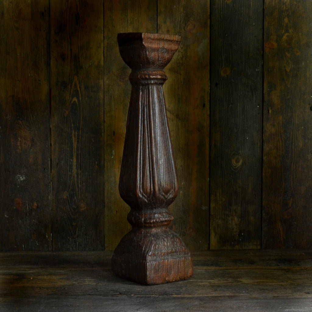 18th Century Flutted Hardwood Candlestick 'SOLD'