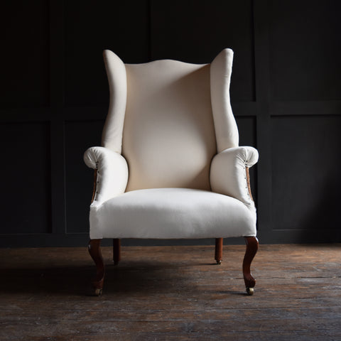 Excellent Shaped English 19th Century Wing Armchair, Upholstery Inclusive.