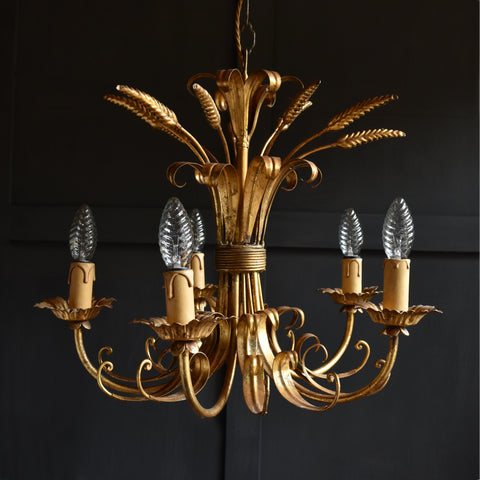 Beautiful Mid Century French Gilt Sheaf of Wheat Chandelier.