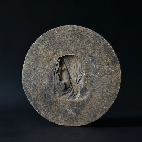 A Wonderful Early 20th Century French Plaster Mould Roundel Of Mary