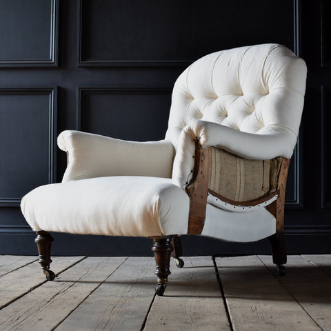 "19th Century English Country House Deep Seated Armchair. Upholstery Inclusive. ""RESERVED"""