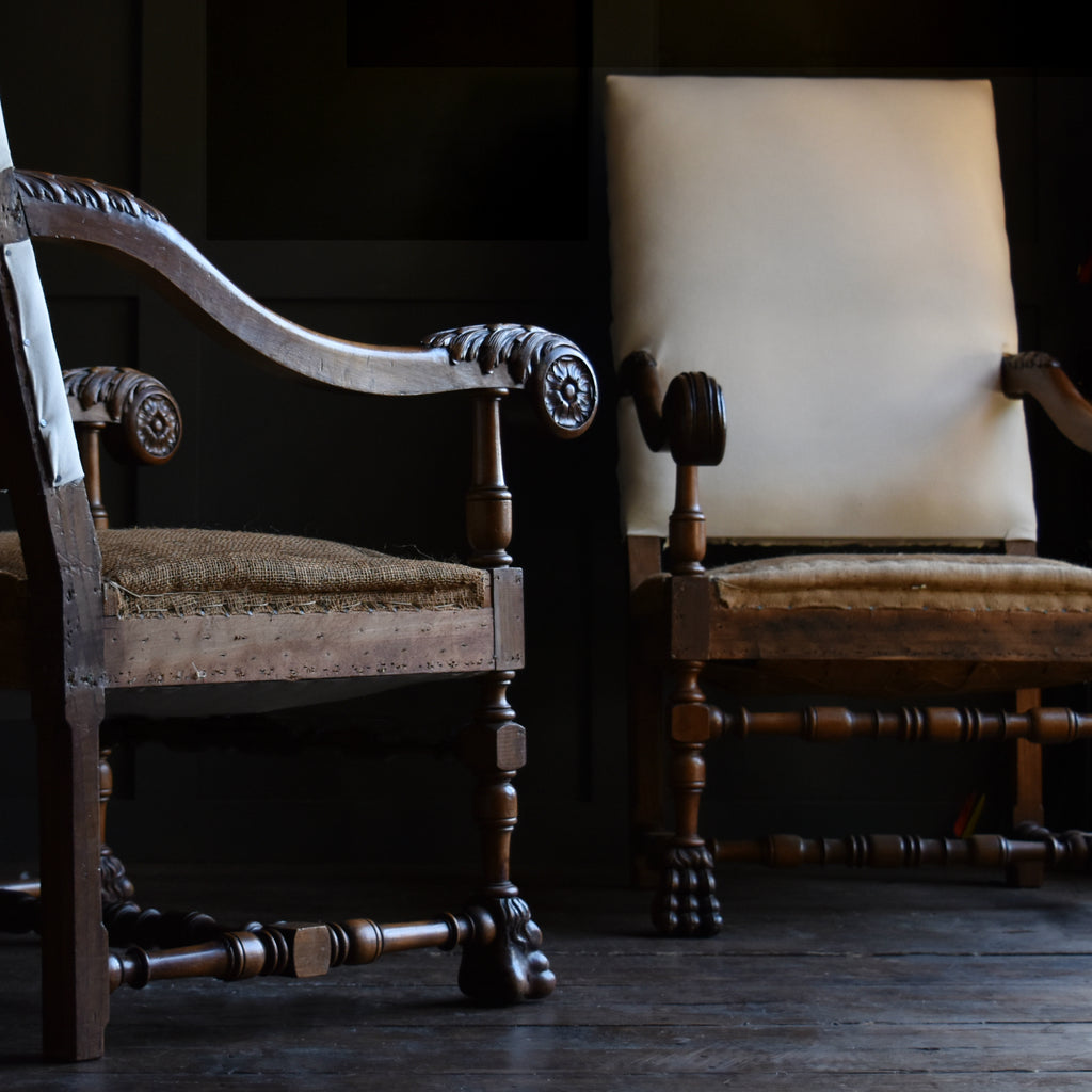 Pair of Impressive Carved Walnut Carolean style Armchairs. Upholstery Inclusive.