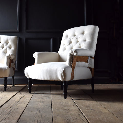 Pair Napoleon III Ebonised Button Back Armchair, Upholstery inclusive