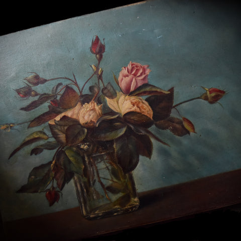 Delightful French Oil Painting of Roses. Dated 1913