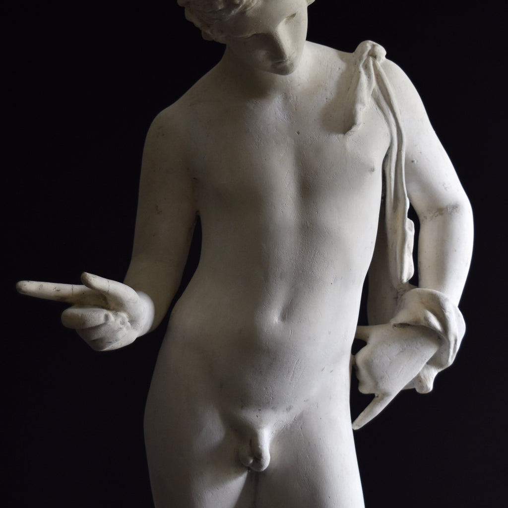 19th Century English Plaster Statue of Narcissus.