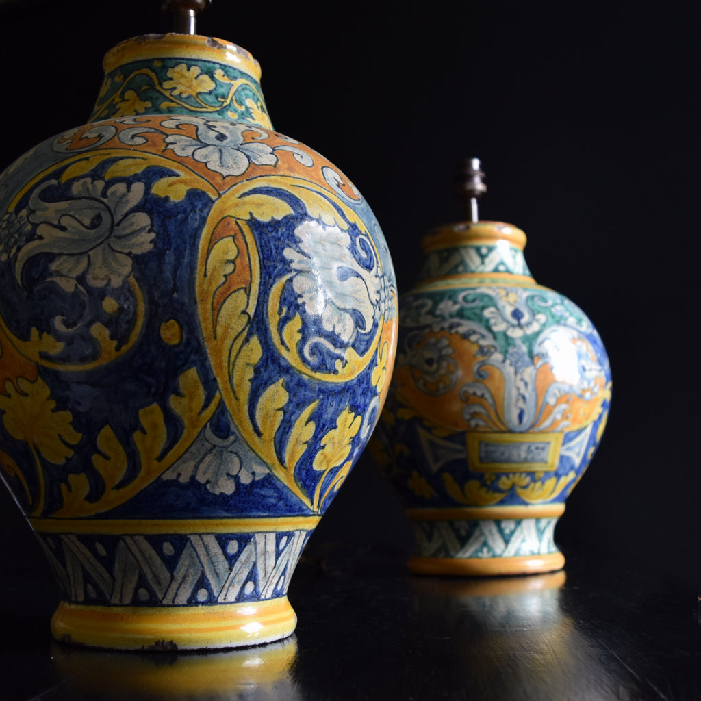 19th Century Majolica Apothecary Vase Lamp. Pair available