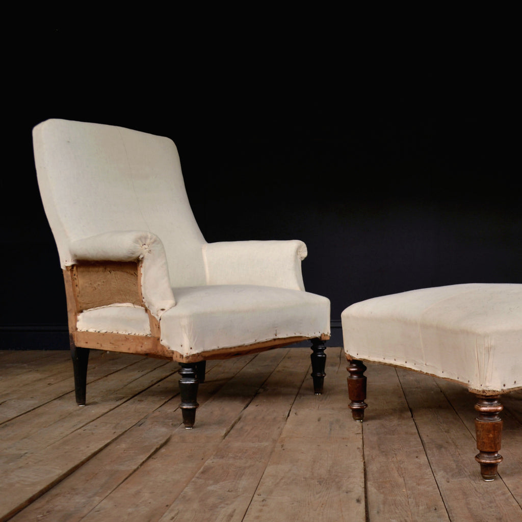 19th Century French Armchair with Fitting Footstool. Upholstery Inclusive.