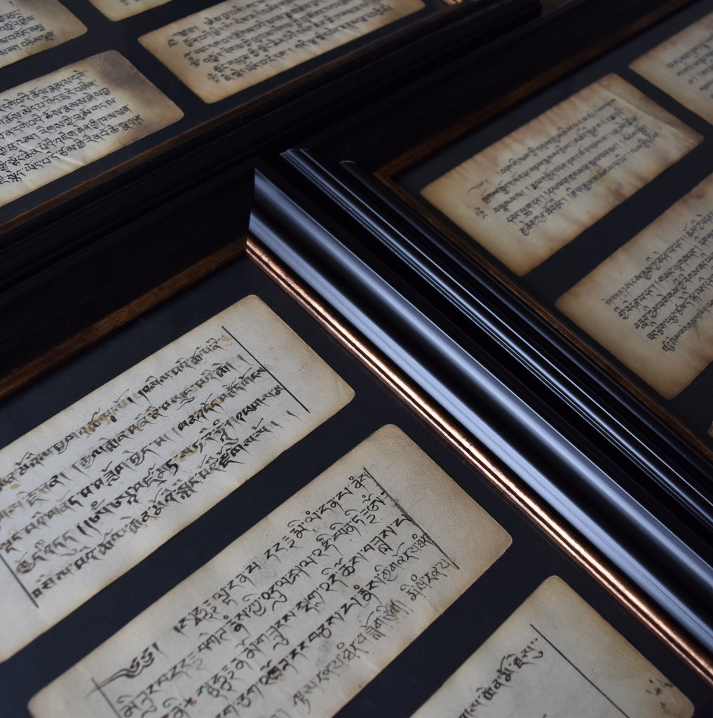 Six Framed 18th Century Tibetan Buddhist Prayer Manuscripts.