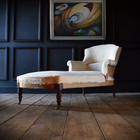 19th Century Scroll Arm French Chaise Longue. Upholstery inclusive. 'RESERVED'