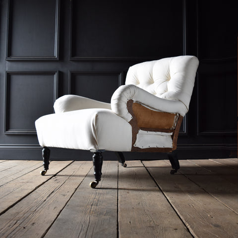 19th Century English Country House Ebonised Armchair. Upholstery Inclusive