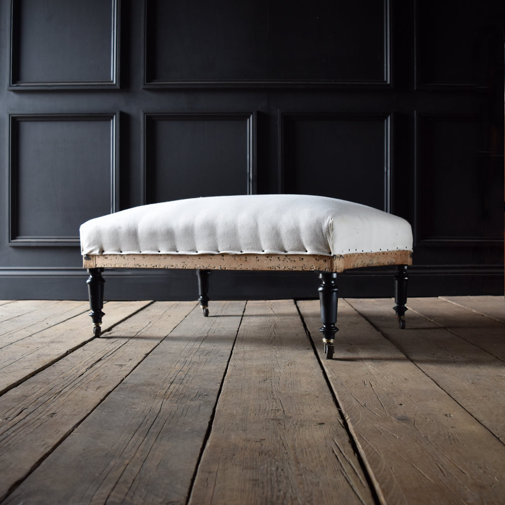 Large 19th Century French Ebonised Foot Stool. Upholstery Inclusive.
