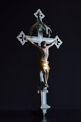 Early 19th century French Gothic Cross with Carved Christ.