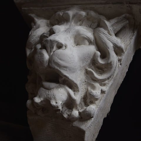 Architectural 19th Century Plaster Lions Head Corbel.