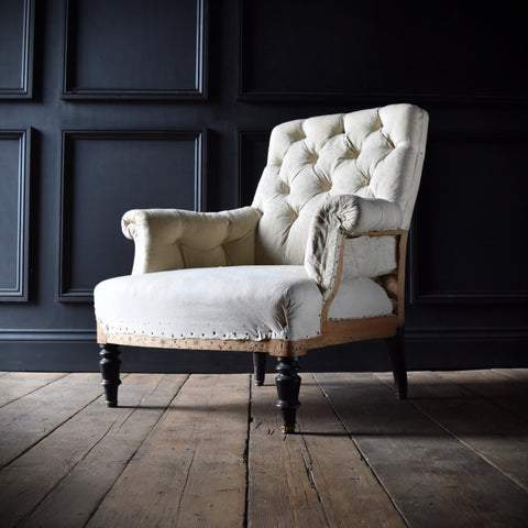 19th Century Napoleon III Button Back Armchair. Upholstery Inclusive 'RESERVED'