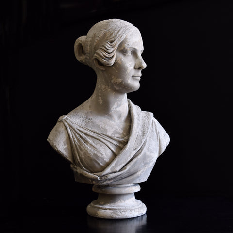 Beautiful 19th Century English Plaster Bust of Opera Singer Mrs Alfred Shaw.