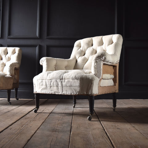 Excellent Pair of Napoleon III Fully Buttoned Ebonised Armchairs. Upholstery Inclusive.