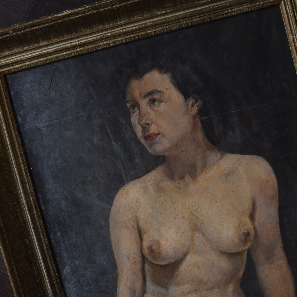 Alluring 1930's French Painting Study of a Nude.